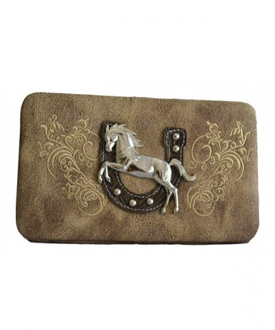 WOMEN CONCHO STITCHED WALLET CLUTCH