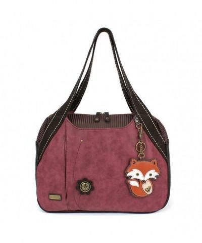 Chala Handbag Shoulder Animal Burgundy